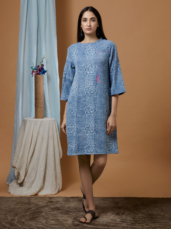 Indigo Dabu Printed Cotton Denim Dress
