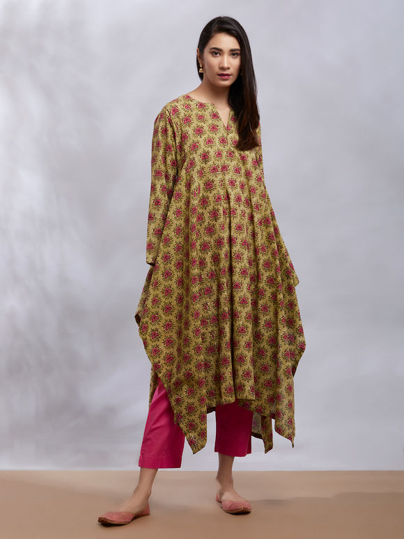 Olive Green Printed Cotton Asymmetric Kurta with Pink Pants and Stole - Set of 3