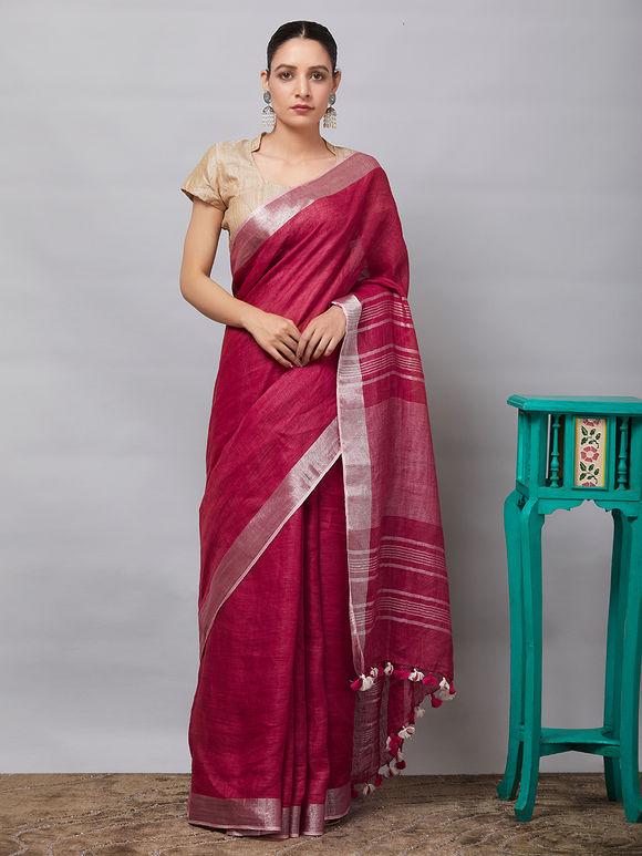 e03ad5b75a817f Woven Sarees   Buy Handwoven Cotton Silk   Linen Sarees Online - The Loom