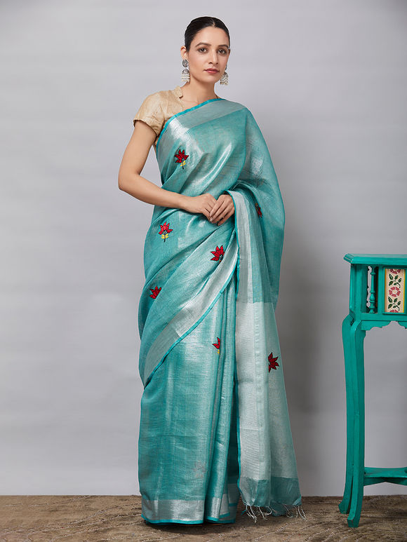 Turquoise Embroidered Linen Tissue Saree