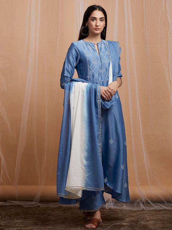 Blue Hand Block Printed High Low Cotton Kurta with Palazzo and White Ombre Mulmul Dupatta - Set of 3