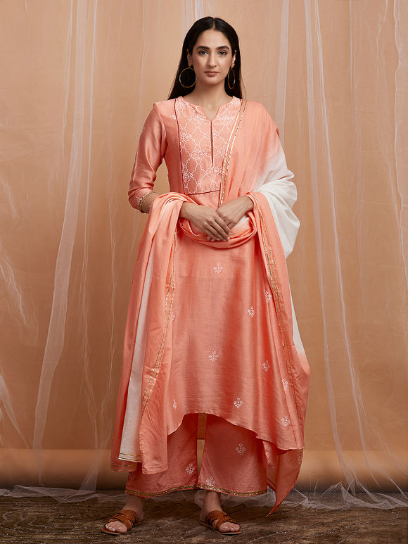 Peach Hand Block Printed High Low Cotton Kurta with Palazzo and White Ombre Mulmul Dupatta - Set of 3