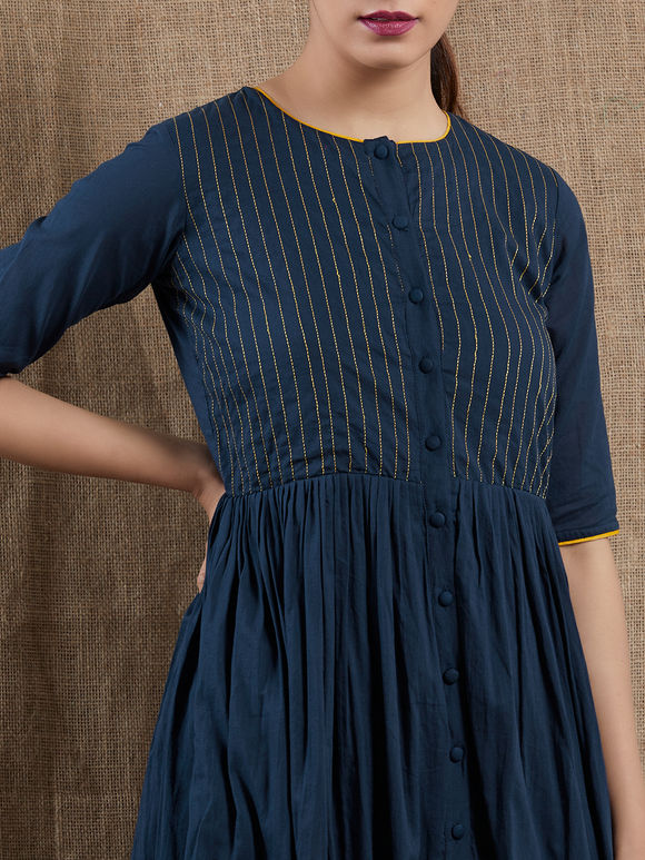 Navy Blue Thread Embroidered Mulmul Dress