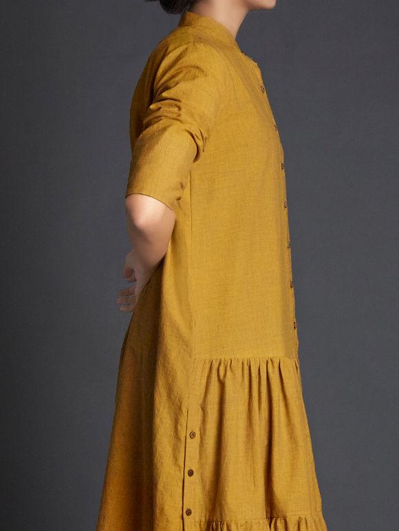 Mustard Yellow Khadi Dress