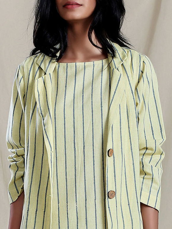 Yellow Handwoven Cotton Striped Jacket