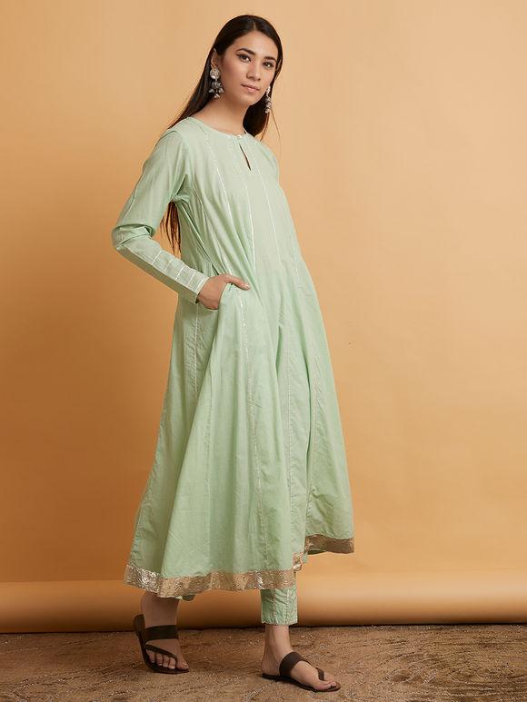 Pista Green Gota Cotton Anarkali Suit- Set of 3