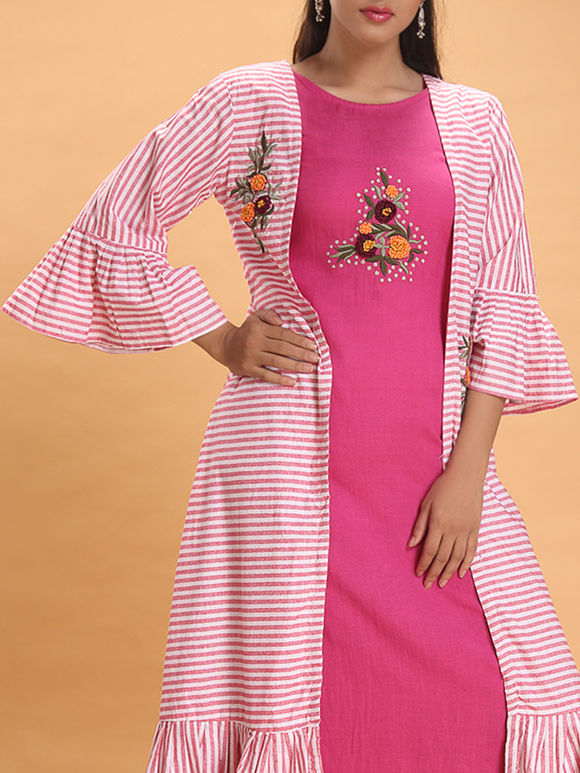 Pink Hand Embroidered Cotton Dress with Striped Shrug- Set of 2