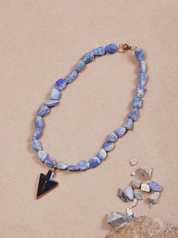 Blue Black Semi Precious Stones Handcrafted Necklace