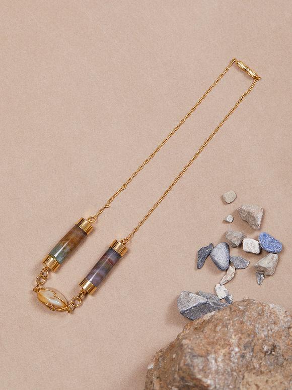 Brown Golden Semi Precious Stones Handcrafted Necklace