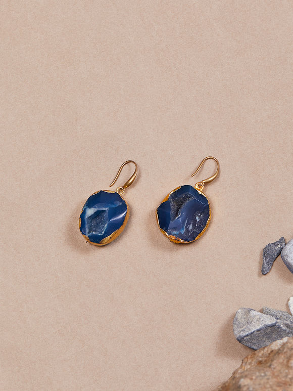 Blue Semi Precious Stones Handcrafted Earrings