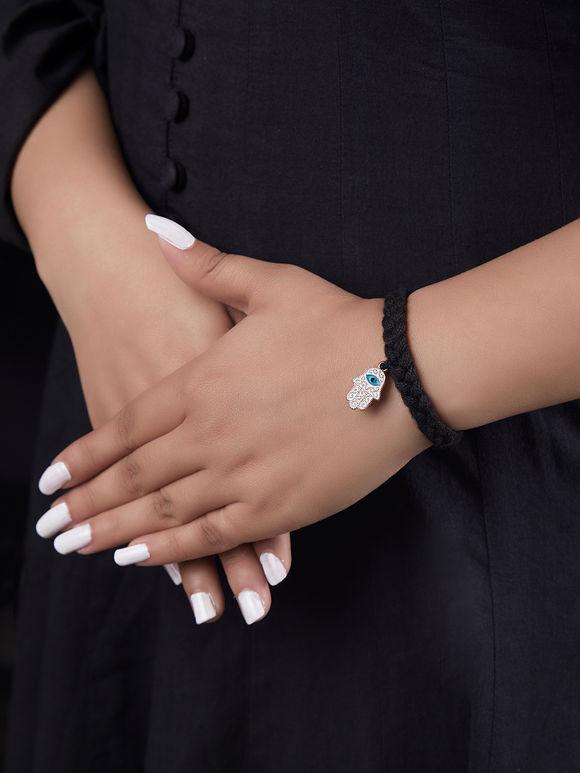 Black Handcrafted Evil Eye Metal Bracelet