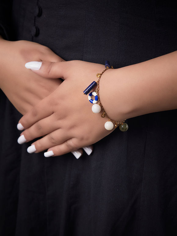White Blue Handcrafted Metal Bracelet