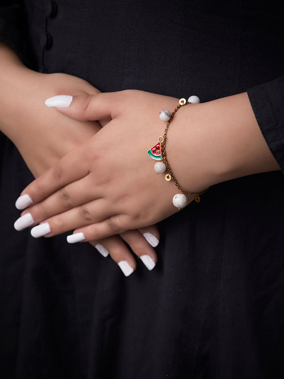 White Red Handcrafted Metal Bracelet