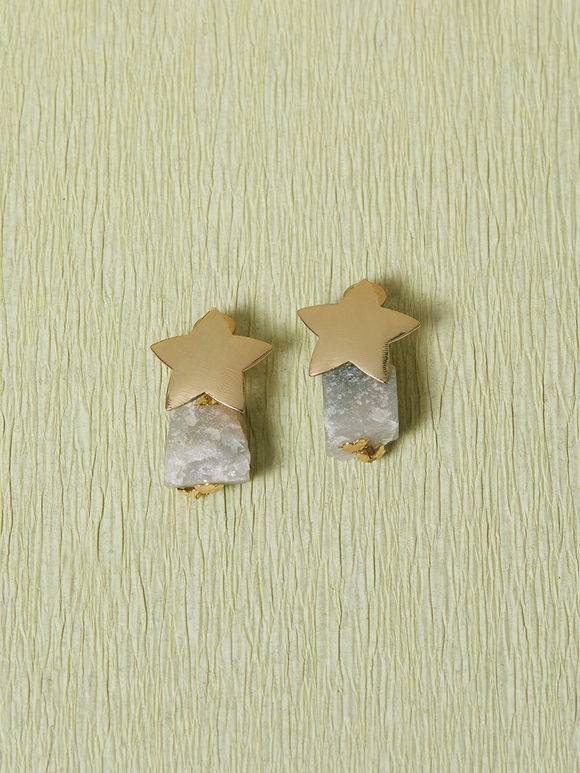 Gold Toned Handcrafted Metal Agate Stones Earrings