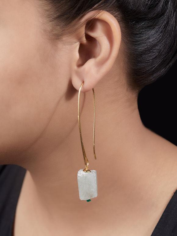 Green Handcrafted Metal Agate Stones Loop Earrings