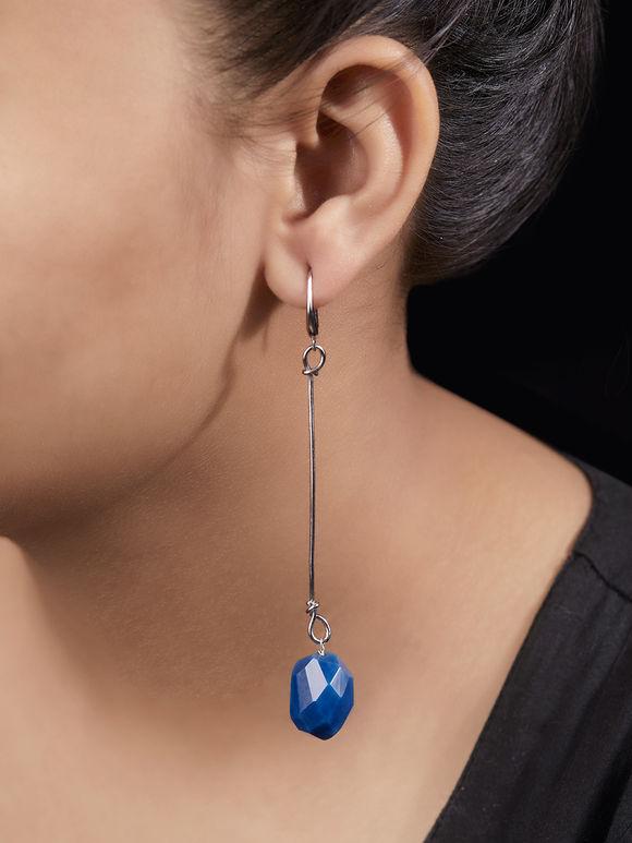 Blue Handcrafted Metal Agate Stones Earrings