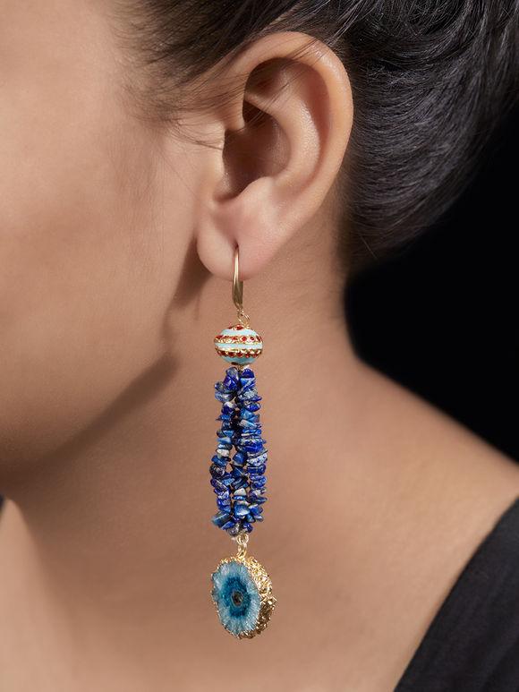 Blue Handcrafted Meenakari Agate Stones Earrings