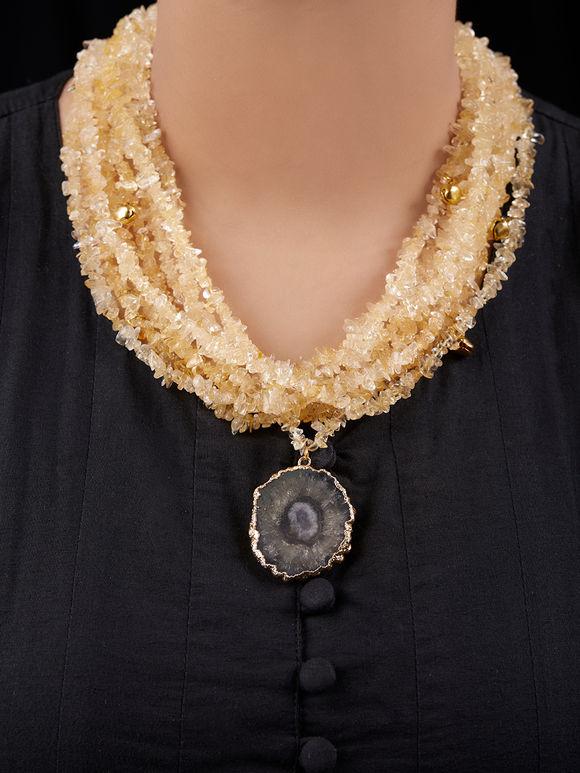 Yellow Black Handcrafted Semi Precious Stones Necklace