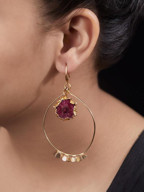 Gold Toned Pink Metal Agate Stones Earrings