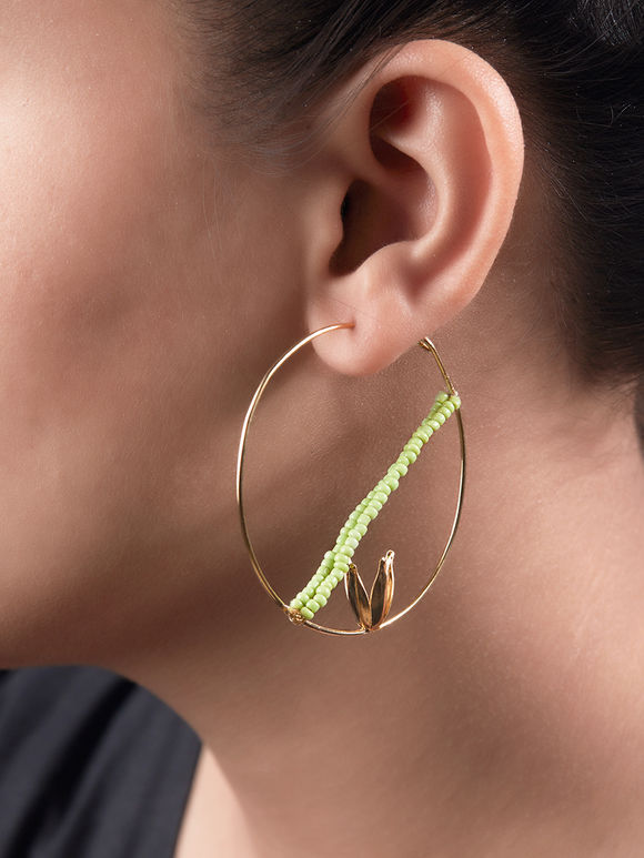 Gold Toned Metal Beaded Earrings