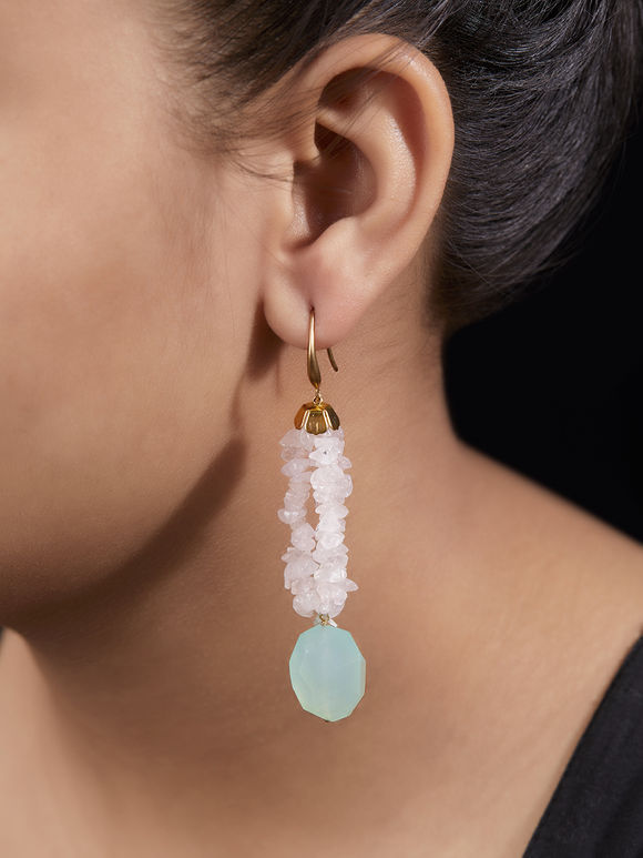 Light Pink Handcrafted Agate Stones Earrings