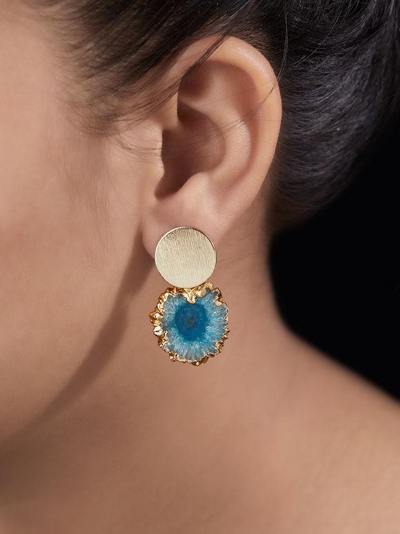 Gold Toned Blue Metal Agate Stones Earrings