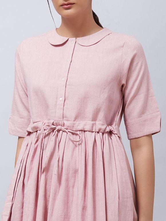 Pink Khadi Cotton Gathered Dress