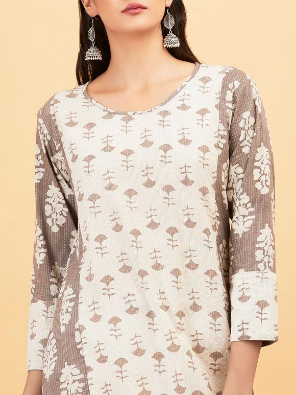 Off White Grey Hand Block Printed Cotton Kurta