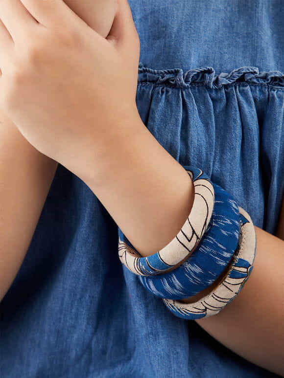 Blue Beige Handcrafted Cotton Bangles - Set of 3