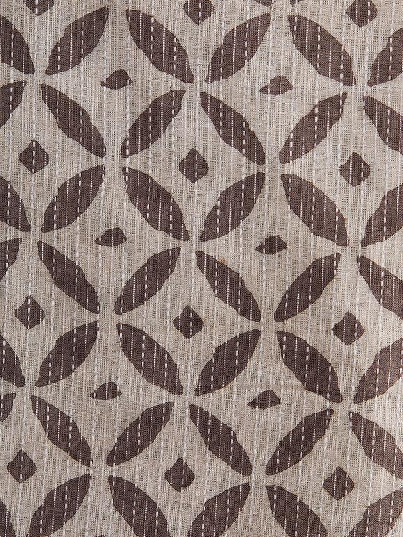 Brown Beige Hand Block Printed Cotton Fabric (1 Meter)