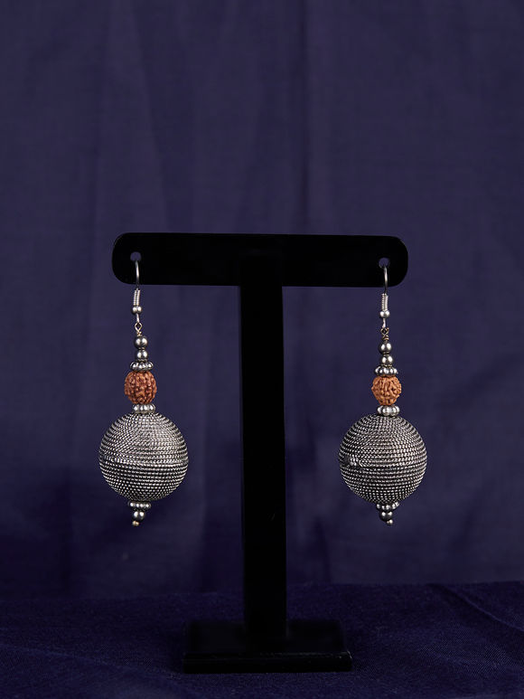 Silver Toned Handcrafted Brass Rudraksh Earrings