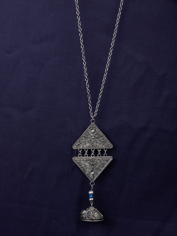 Silver Toned Handcrafted Brass Pendant Necklace