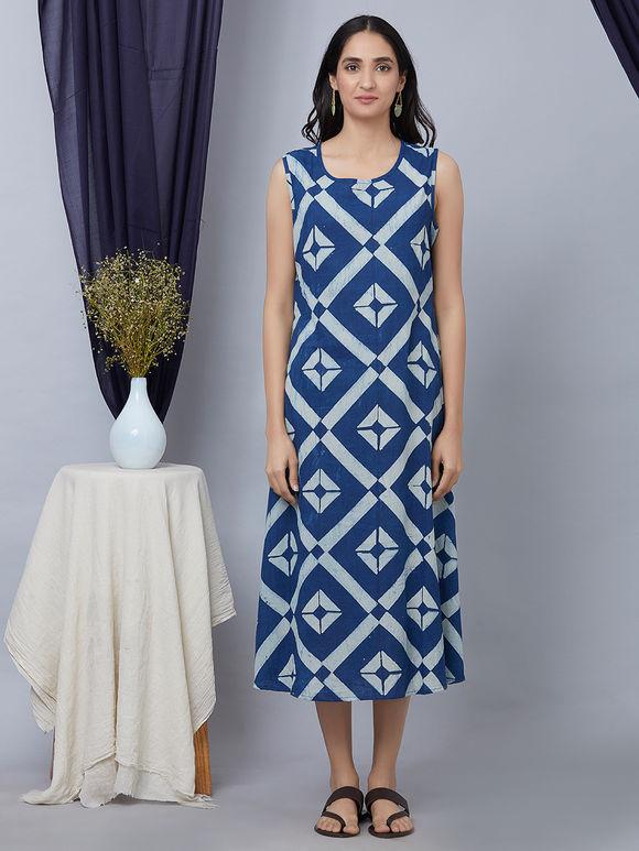 Blue Hand Block Ajrakh Printed Cotton Dress with Jacket - Set of 2