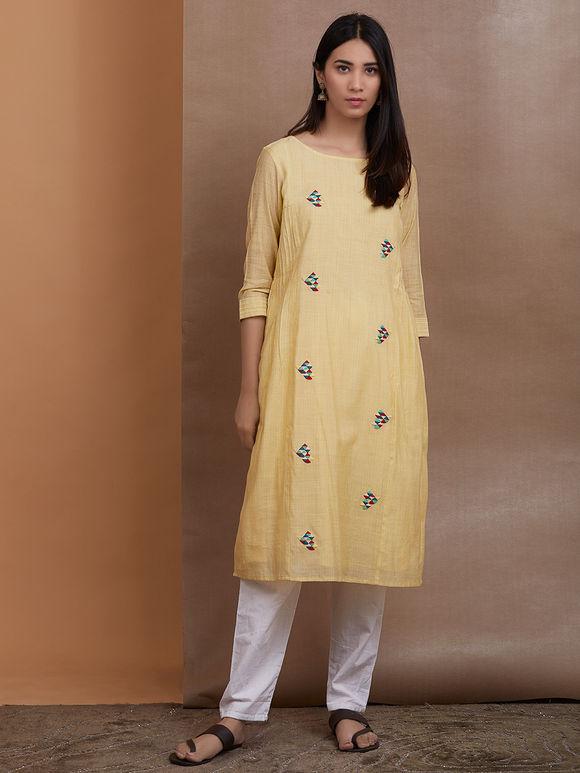Light Yellow Hand Embroidered Cotton Chanderi Kurta