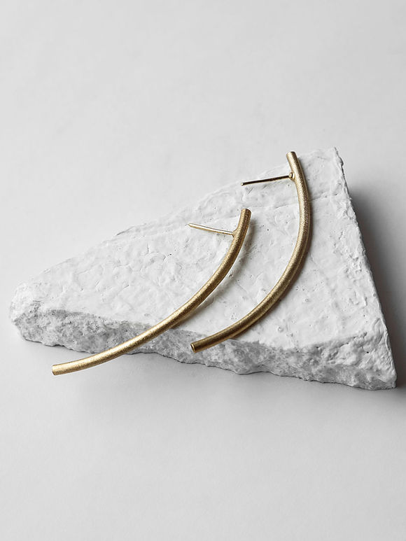 Gold Toned Handcrafted Brass Oxbow Earrings