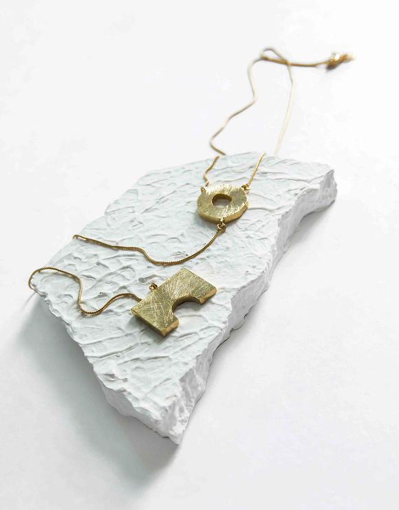 Gold Toned Handcrafted Brass Necklace