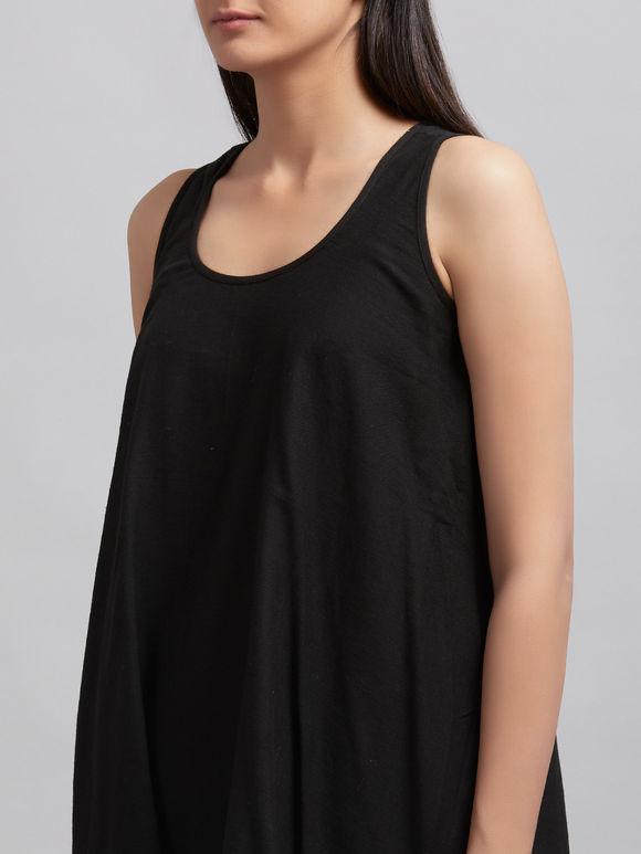 Black Cotton Asymmetric Top