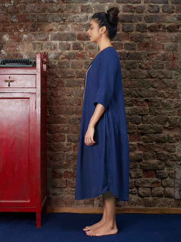 Navy Blue Khadi Dress