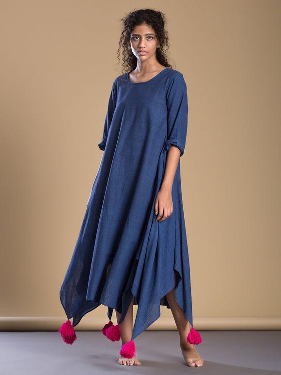 ab53d3fd54 Blue Khadi Asymmetric Boho Dress