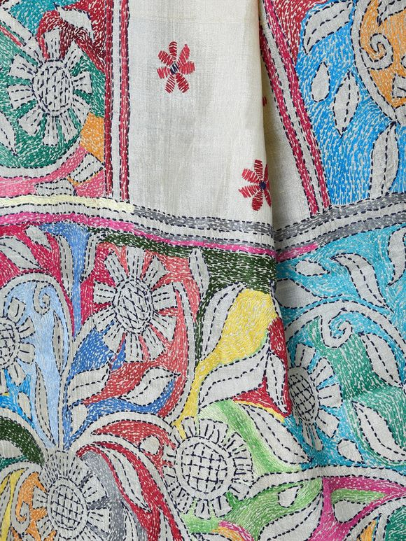 Multi Color Tussar Silk Pretty Posies Kantha Stole