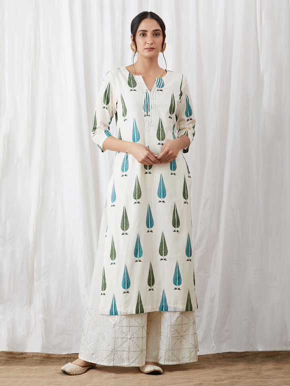 Off White Turquoise Hand Block Printed Cotton Kurta with Gota Palazzo and Dupatta - Set of 3