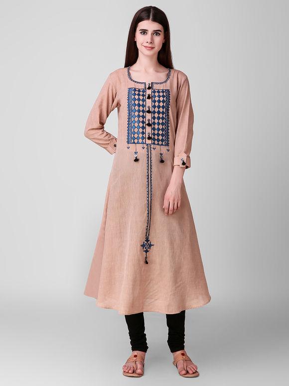 Beige Embroidered Khadi Cotton Kurta with Indigo Muslin Cotton Jamdani Stole - Set of 2