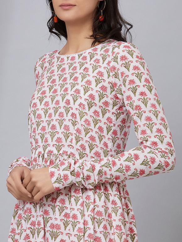White Pink Hand Block Printed Cotton Kurta with Palazzo - Set of 2