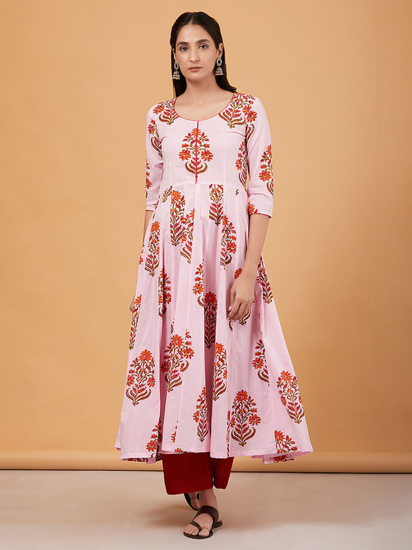 Pink Hand Block Printed Cotton Anarkali Kurta with Red Palazzo and Mulmul Dupatta- Set of 3