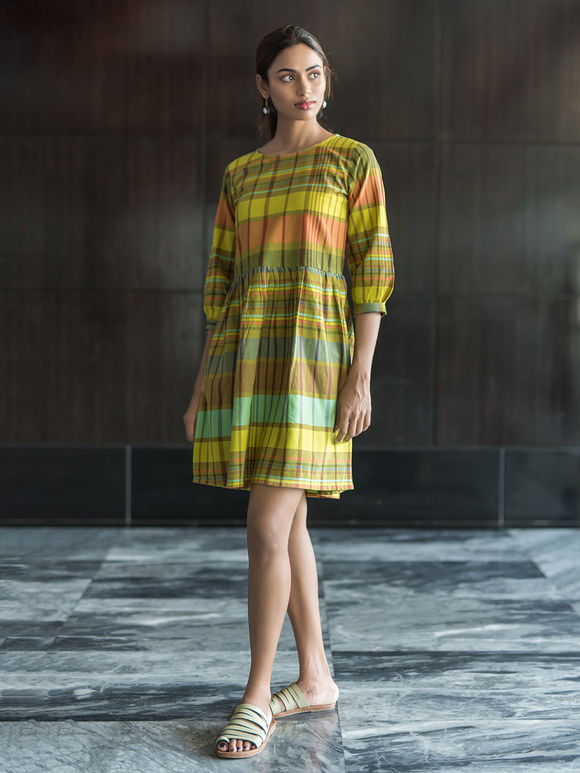 Multicolor Cotton Checkered Dress