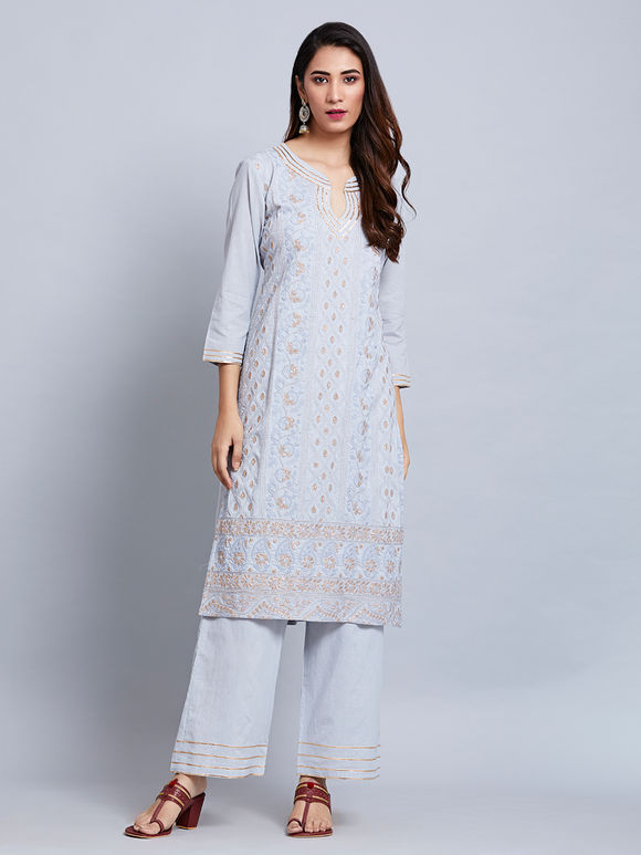 Powder Blue Embroidered Cotton Zari Kurta with Palazzo and Mulmul Dupatta- Set of 3