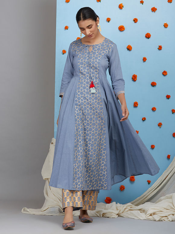 Greyish Blue Cotton Gota Embroidered Kurta with Hand Block Printed Pants and Maroon Chanderi Dupatta - Set of 3