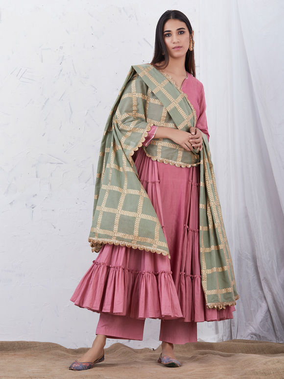 Old Rose Anarkali Chanderi Kurta with Cotton Palazzo and Olive Green Hand Block Printed Mulmul Dupatta - Set of 3