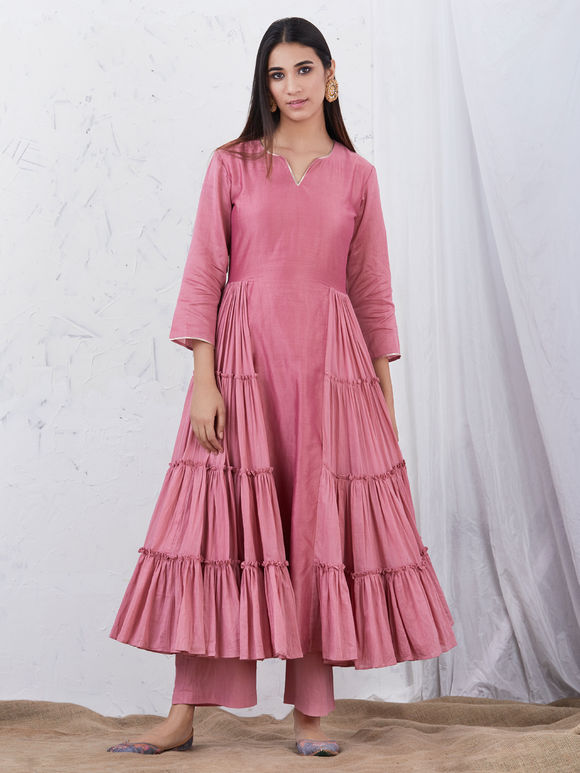 Old Rose Anarkali Chanderi Kurta
