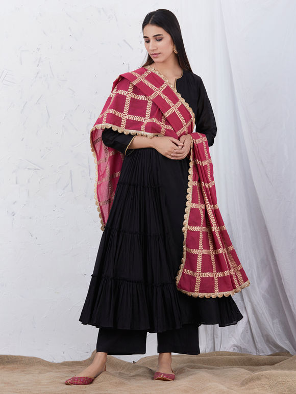 Black Anarkali Chanderi Kurta with Cotton Palazzo and Pink Hand Block Printed Mulmul Dupatta - Set of 3